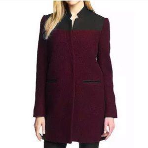 Kenneth Cole NY Boucle Wool Coat Burgundy Black